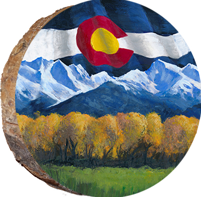 dfg003 colorado flag with mountains in fall